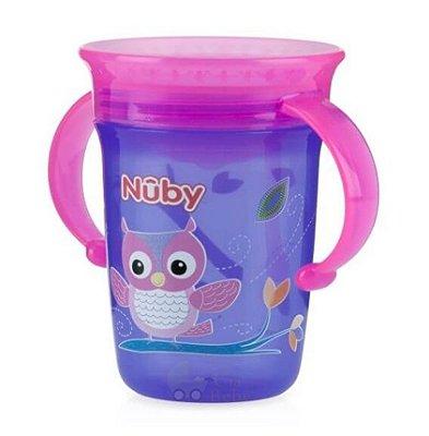 Copo Bebê Com Alça 360º Lilás e Roxo 240ml Nuby