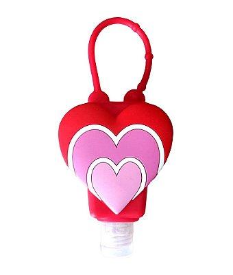 Álcool Gel Com Hidratante E Capa De Silicone Coração