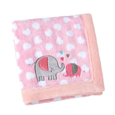 Manta Bebê Fleece Bordada Mini Elefantinha Rosa - Lepper