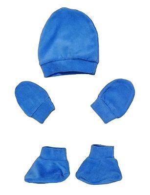Kit Bebê 3 Pçs Plush Azul Com Touca Luva e Sapatinho