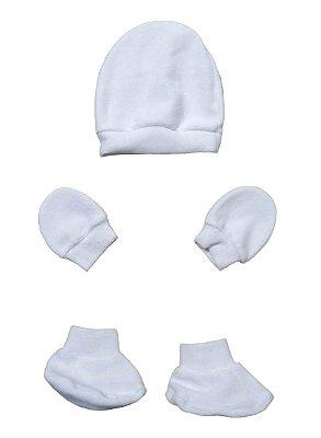 Kit Bebê 3 Pçs Plush Branco Com Touca Luva e Sapatinho