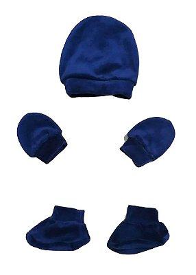 Kit Bebê 3 Pçs Plush Azul Marinho Com Touca Luva e Sapatinho