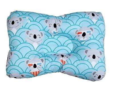Travesseiro Bebê Cabeça Chata Ursinho Azul