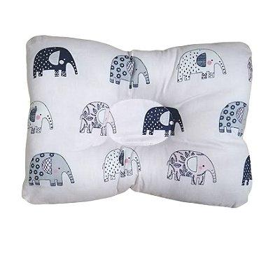 Travesseiro Bebê Cabeça Chata Elefante Rosa