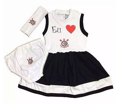 Vestido Bebê Corinthians com Calcinha e Tiara