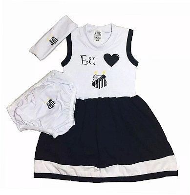 Vestido Bebê Santos com Calcinha e Tiara