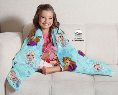 Mantinha Fleece de Sofa Infantil Frozen Lepper