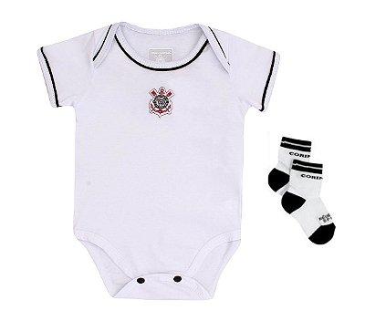 Kit Bebê Corinthians Com Body e Meia Oficial