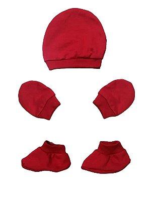Kit Bebê 3 Pçs Malha Vermelho Com Touca Luva e Sapatinho