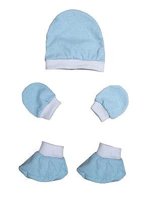 Kit Bebê 3 Pçs Malha Azul Com Touca Luva e Sapatinho
