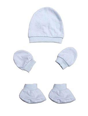 Kit Bebê 3 Pçs Malha Branco Com Touca Luva e Sapatinho