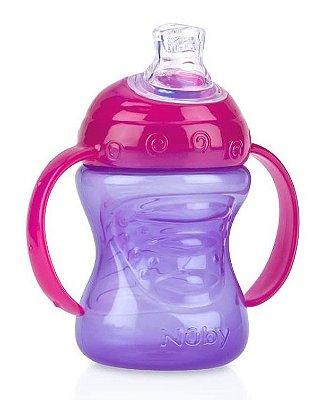 Copo Bebê Com Alça De Silicone Lilás 240ml Nuby