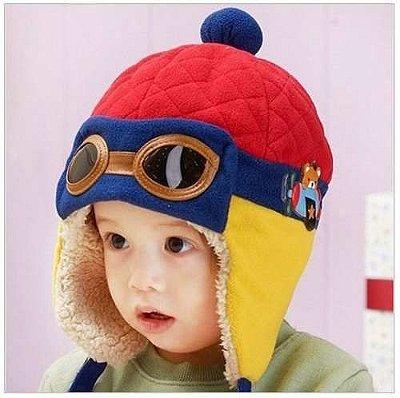 Touca Bebê Piloto Aviador Vermelha