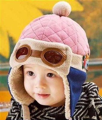 Touca Bebê Piloto Aviador Rosa