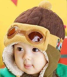 Touca Bebê Piloto Aviador Marrom