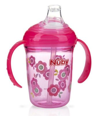 Copo Infantil Com Alça e Bico de Silicone Tritan Rosa Nûby