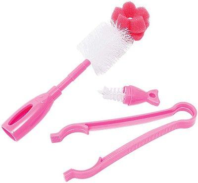 Kit Escova Para Mamadeiras e Pinça Rosa Buba