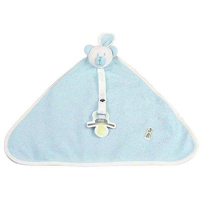 Naninha Bebê Atoalhada Ursinho Com Prendedor Azul Zip