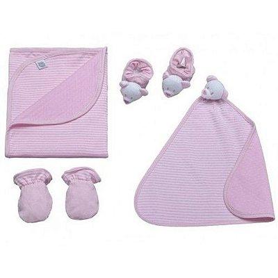 Kit Bebê Com 4 Pçs Dupla Face Listrado Rosa Zip