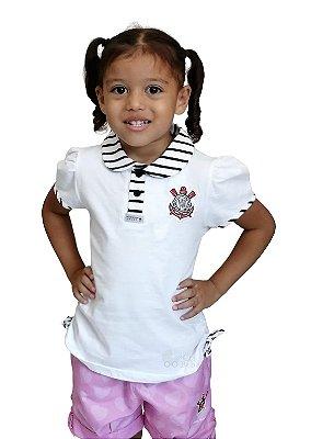 Camisa Polo Infantil Corinthians Feminina Oficial