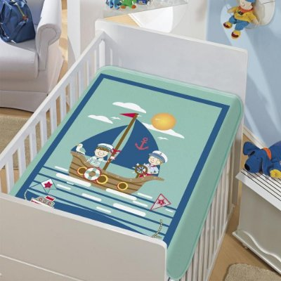 Cobertor Bebê Os Marinheiros Verde 0,90 x 1,10m Jolitex
