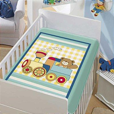 Cobertor Bebê Trenzinho Verde 0,90 x 1,10m Jolitex