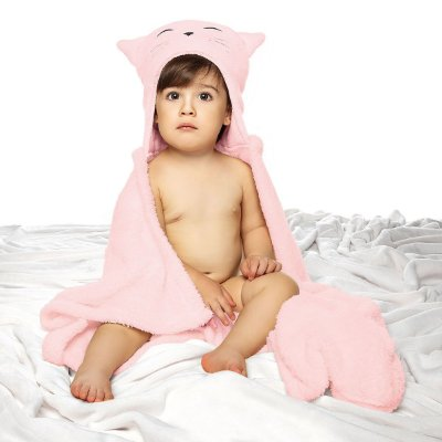 Manta Bebê Fleece Rosa Com Capuz Mini Lepper