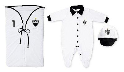 Kit Bebê Saída Maternidade Atlético MG Branco - Torcida Baby