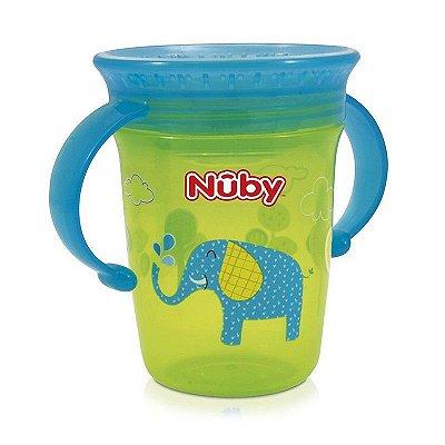 Copo Bebê Com Alça 360º Verde e Azul 240ml Nuby