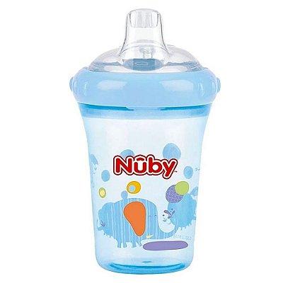 Copo Bebê Com Bico De Silicone Azul Nuby