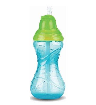 Copo Infantil Com Canudo Silicone Azul 300ml Nuby