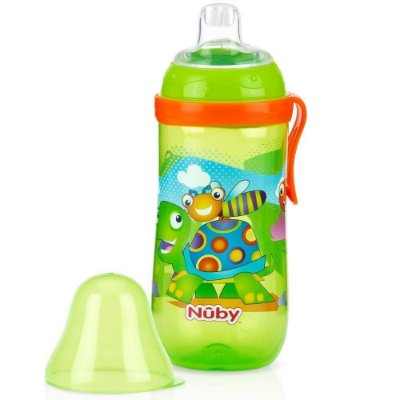 Garrafinha Infantil Bico De Silicone Verde 360ml Nuby