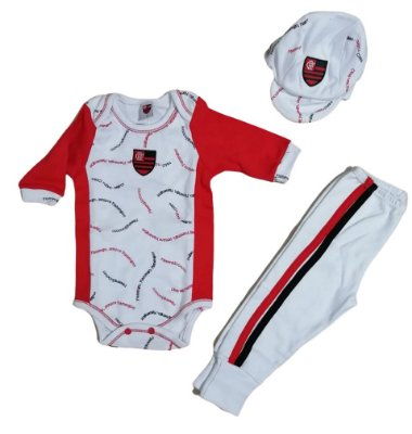 Conjunto Bebê Flamengo Longo 3 Peças Oficial