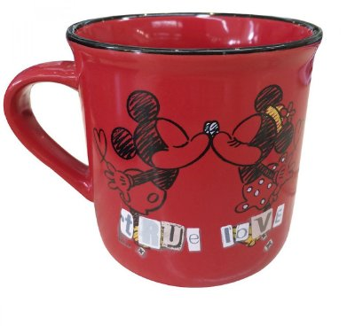 Caneca De Porcelana Vermelha Mickey e Minnie True Love 280ml - Disney