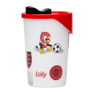 Copo Flamengo Plástico Branco Com Tampa Lolly 350ml
