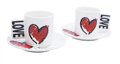 Jogo com 2 Xícaras E Pires Porcelana Love 80ml