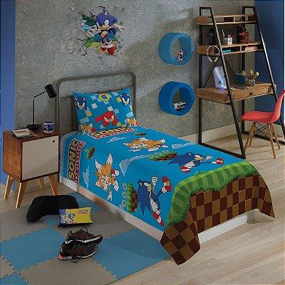 Jogo de Cama Infantil Sonic 2 Pçs 1,40 x 2,20m - Lepper