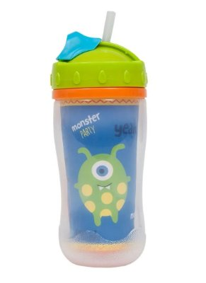 Copo Com Canudo Parede Dupla Monster Party 320ml - Buba