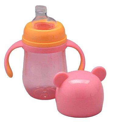 Copo Infantil Com Alça Urso Rosa 180ml Buba