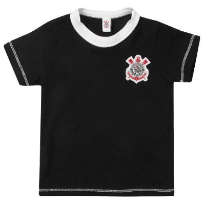Camiseta Corinthians Bebê Preta Oficial