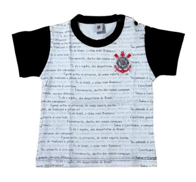 Camiseta Bebê Corinthians Hino Manga Curta Oficial
