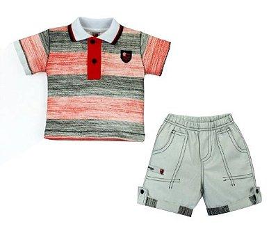 Conjunto Flamengo Bebê Polo e Bermuda Revedor