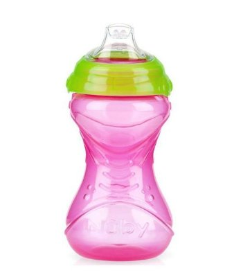 Copo Infantil Com Bico de Silicone Nuby Rosa 300ml