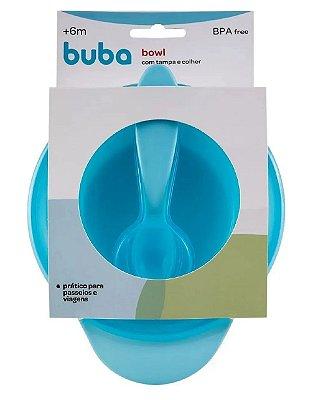 Pratinho Bowl Com Tampa e Colher Azul Buba