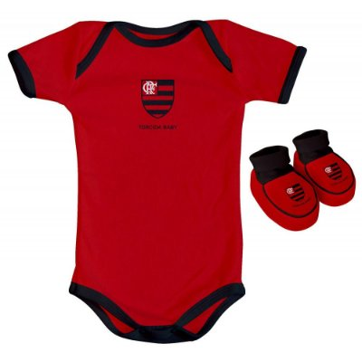 Body e Pantufa Flamengo Vermelho Torcida Baby