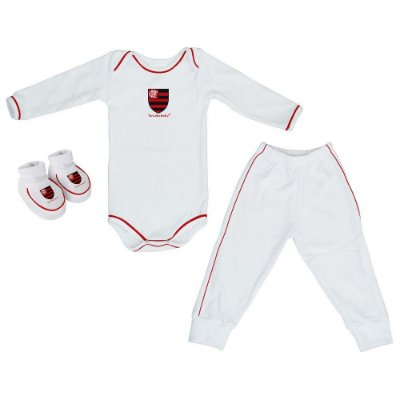 Kit Bebê Flamengo 3 Peças Longo Torcida Baby