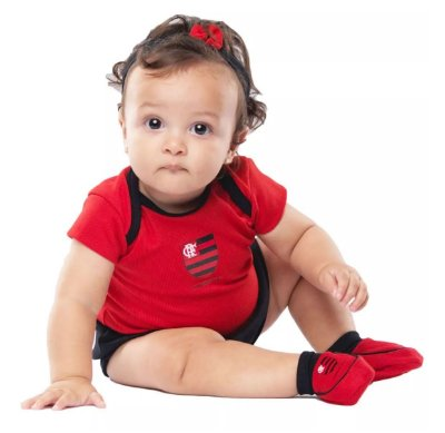 Kit Bebê Flamengo 3 Peças Menina Torcida Baby