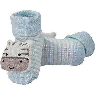 Meia Bebê Antiderrapante Com Chocalho Zebrinha Azul