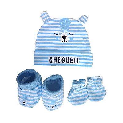 Kit Bebê 3 Pçs Ursinho Com Touca Luva e Meia