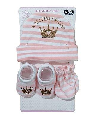 Kit Bebê 3 Pçs Princesa Com Touca Luva e Meia